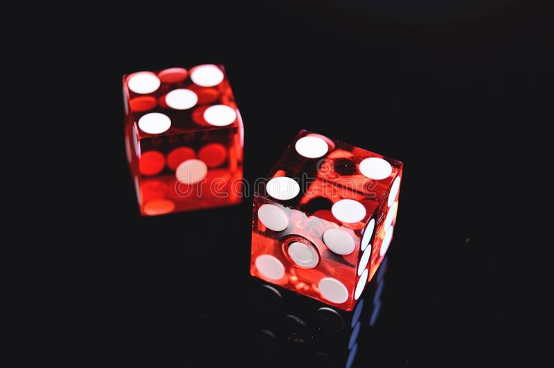 Closeup Photo of Two Red Dices Showing 4 and 5 stock photos