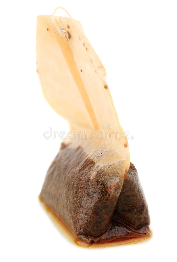 Closeup Photo Of Used Wet Teabag Stock Photo