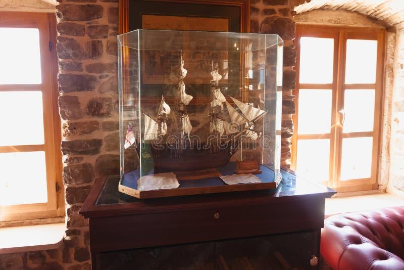 Closeup photo of wooden ship model at museum. Beautiful closeup photo of wooden ship model at museum royalty free stock photos