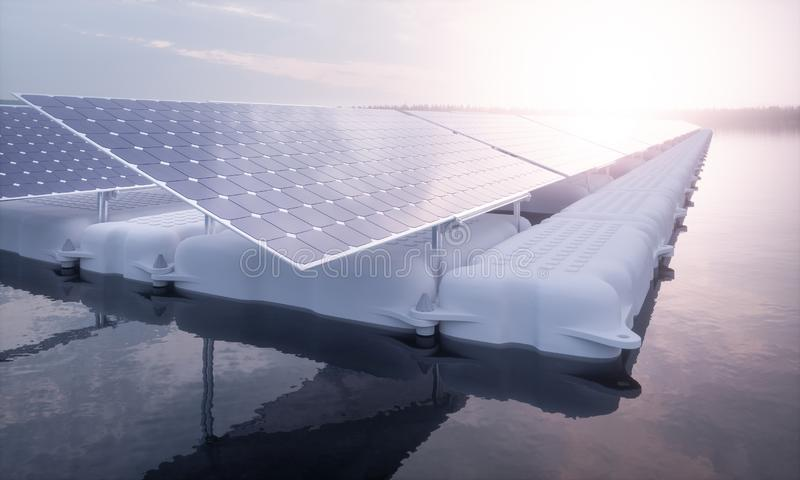 A closeup picture of a floating array of solar panels installed on a white pontoon in a magical purple morning light setting with royalty free illustration
