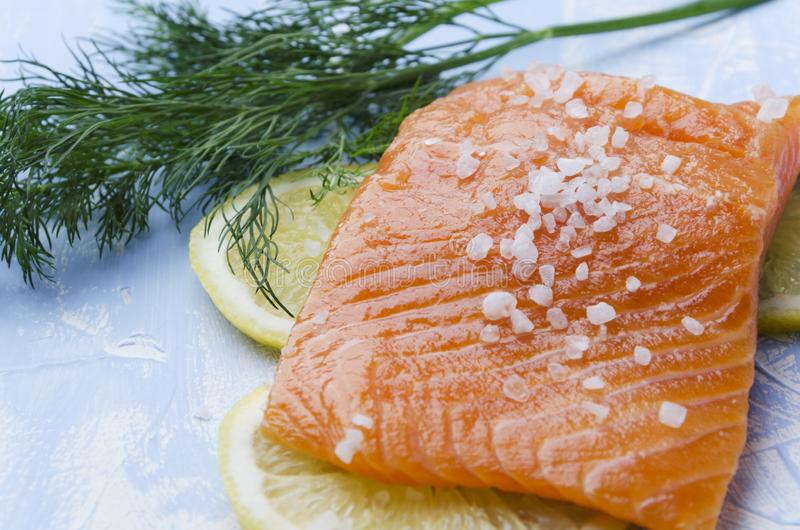 Closeup of piece of salmon,dill,seasalt,slices of lemon on blue table royalty free stock photos