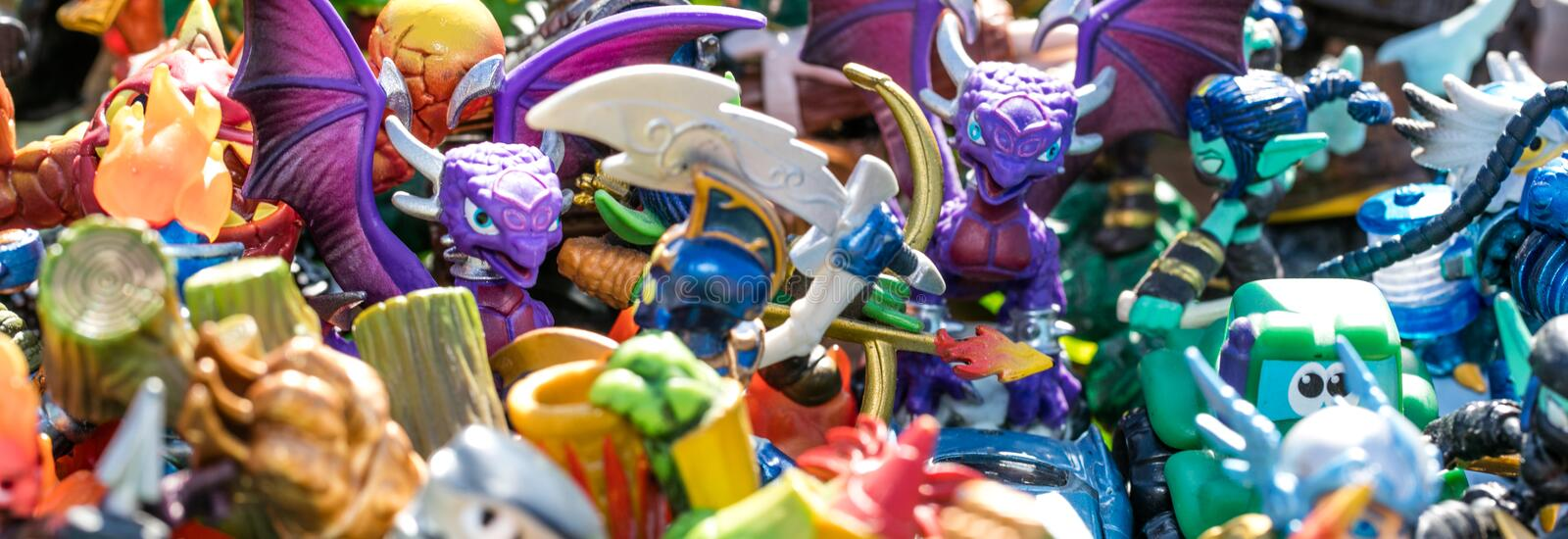Closeup of pile of plastic characters for waste or consumption royalty free stock photo