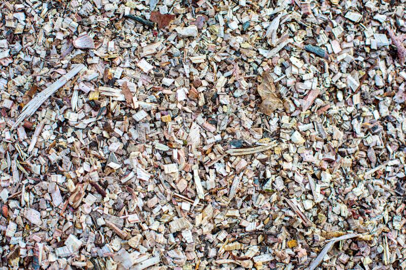 Closeup of a pile of wood chips. Closeup of the texture from a pile of wood chips royalty free stock photography
