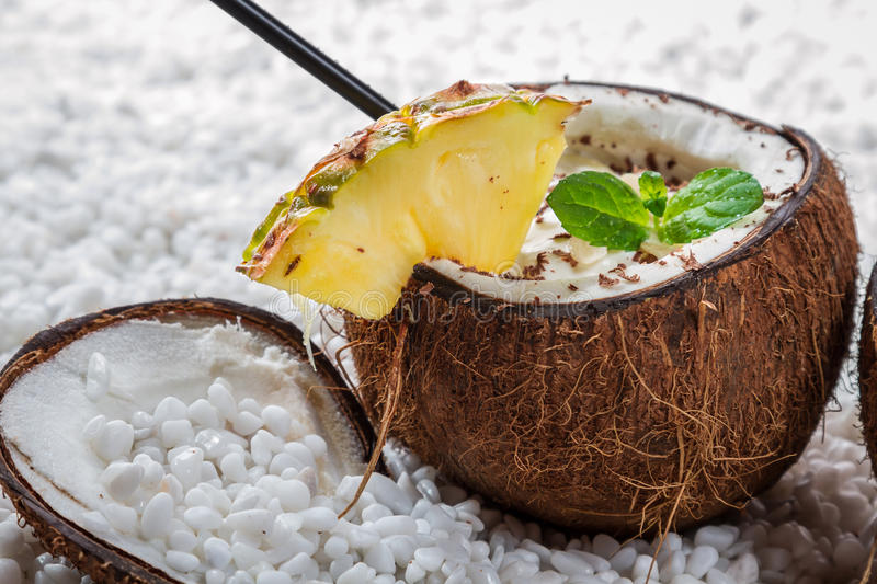 Download Closeup Of Pinacolada Drink With Chocolate And Pineapple Stock Photo - Image: 28931222