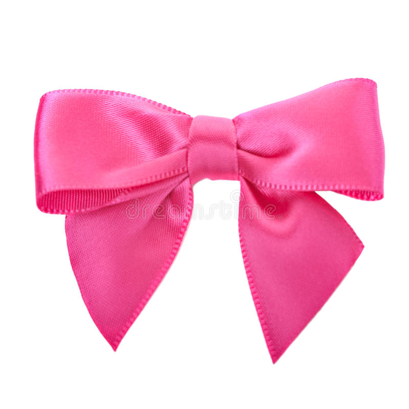 Closeup pink bow. Isolated over white royalty free stock images