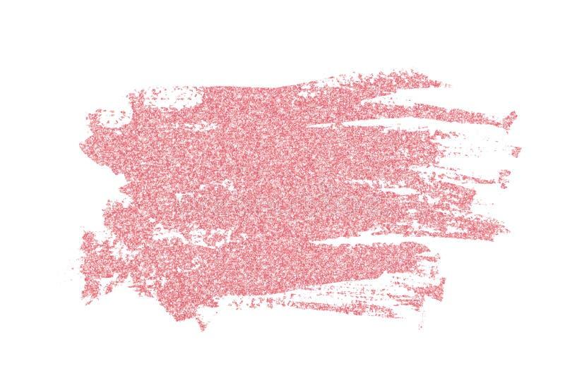 Closeup of pink glitter brushstroke. Isolated on white background royalty free stock image