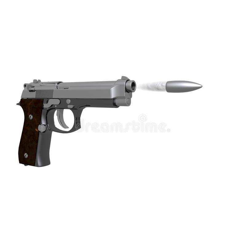 Download Closeup Of Pistol Isolated On Stock Illustration - Illustration of detailed, colt: 12932206