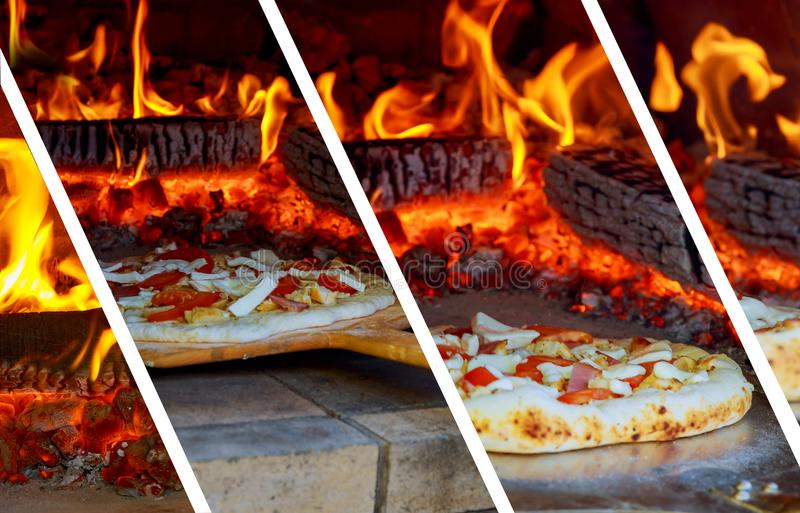 Closeup pizza in firewood oven with flame behind photo collage. Close up pizza in firewood oven with flame behind photo collage royalty free stock photography