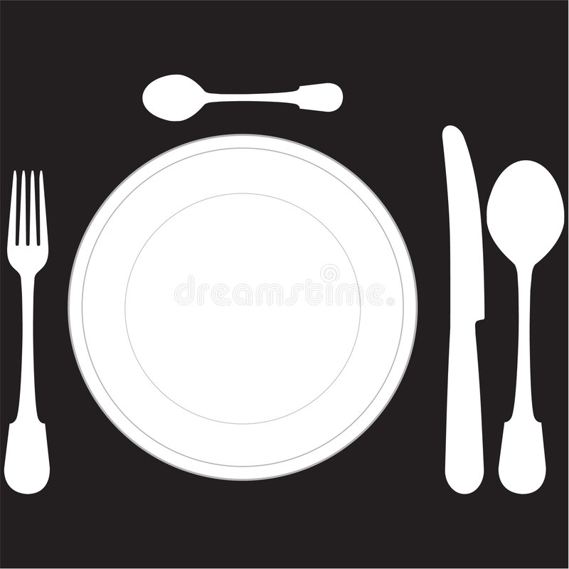 Download Closeup of a place setting stock vector. Image of flatware - 7400926