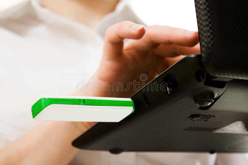 Closeup Of Plugging In Flash Drive Into Laptop Stock Image