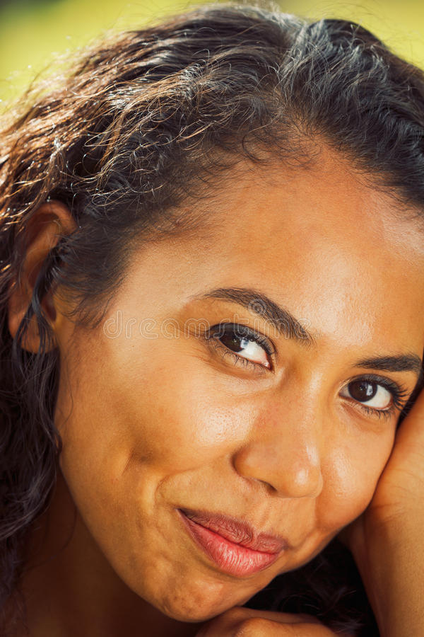 Closeup portrait of an African American woman stock image