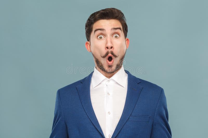 Closeup portrait of amazement manager open mouth and big eyes royalty free stock photos