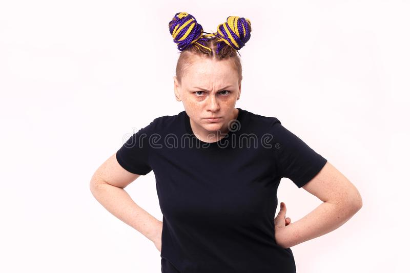 Closeup portrait angry unhappy young woman, indignant, screaming. Isolated white background. Negative human emotion, facial royalty free stock image