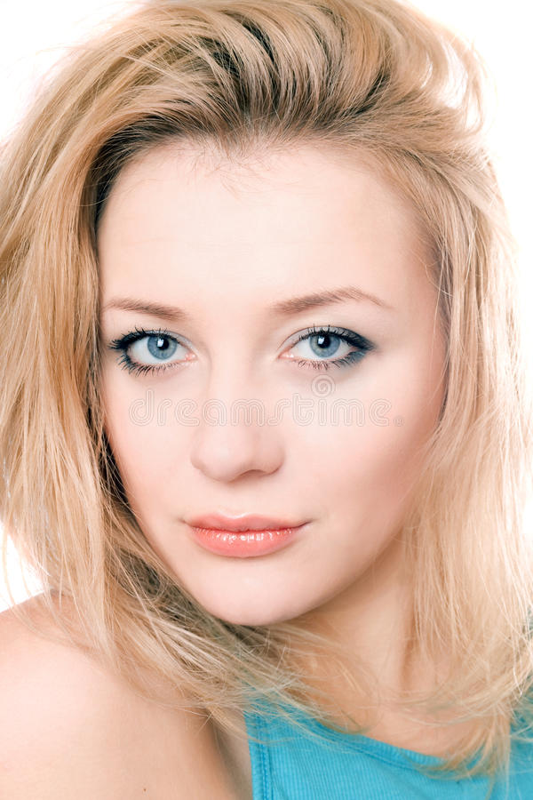 Closeup portrait of a attractive blonde royalty free stock photos