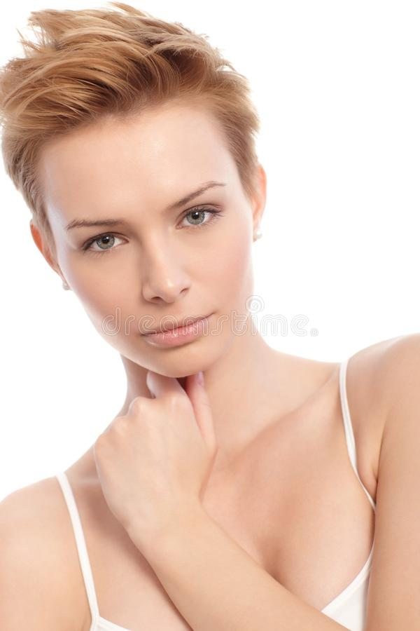 Closeup portrait of attractive blonde stock image