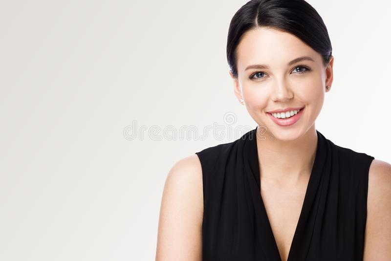 Closeup portrait of attractive young woman. Beautiful office worker royalty free stock images