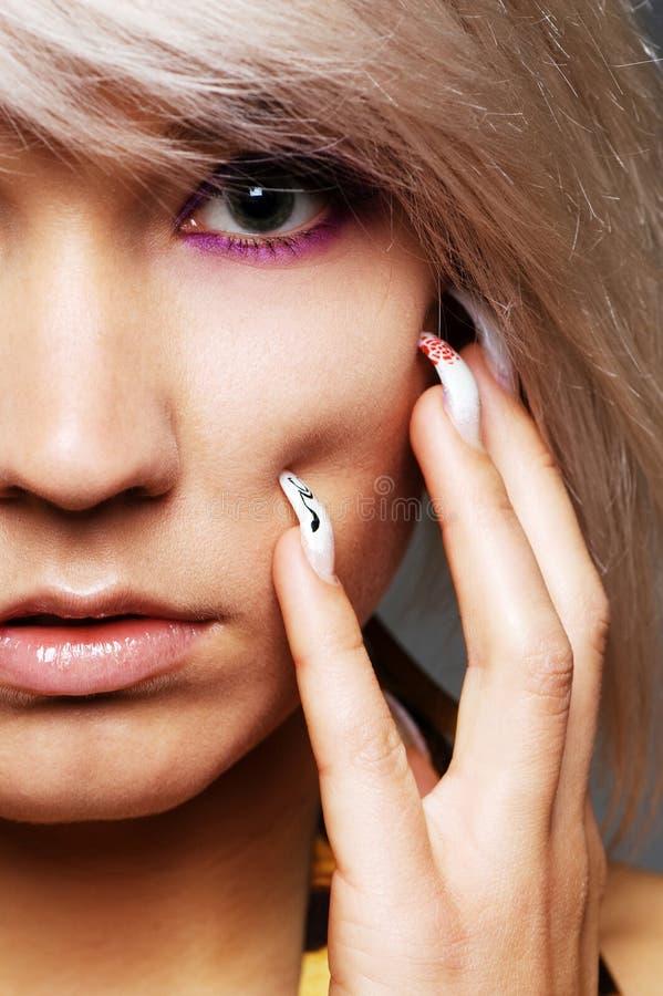 Closeup portrait of beautiful blond royalty free stock photos