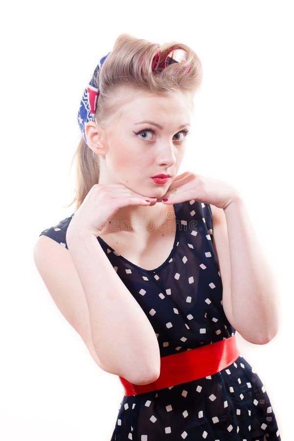 Closeup portrait of beautiful blond pinup woman royalty free stock photo