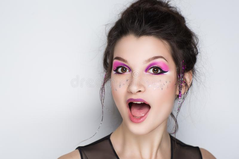 Woman face emotions royalty free stock photography