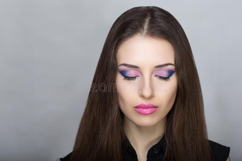 Woman with pink make up royalty free stock photography