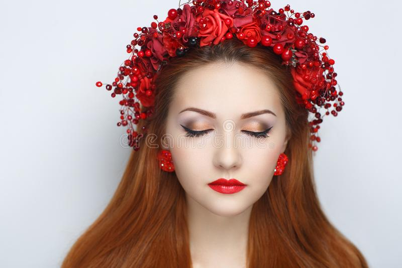 Red flowers wreath royalty free stock image