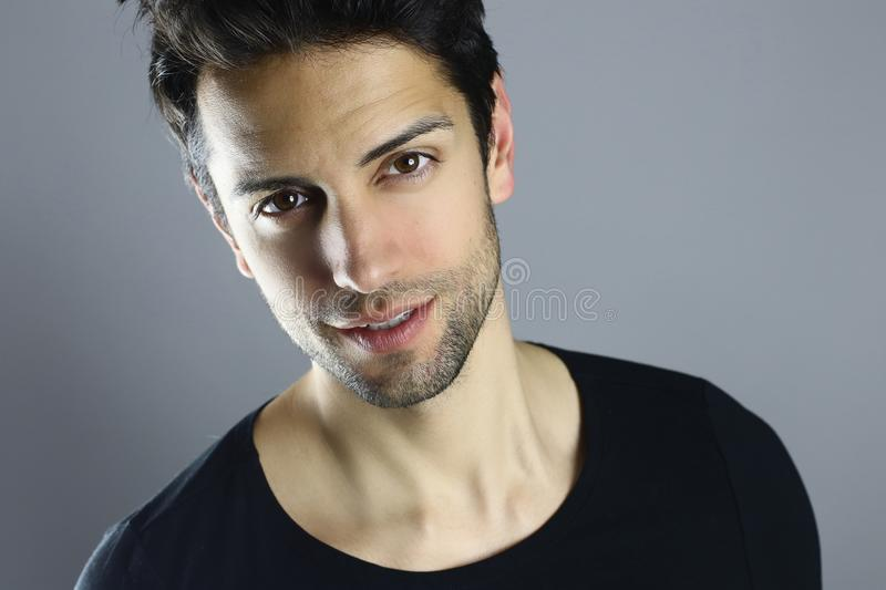 Closeup portrait of a beautiful male model stock photos