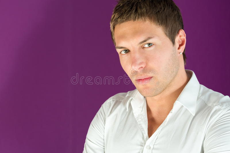 Closeup portrait of a beautiful man royalty free stock images