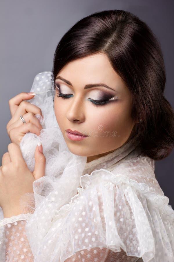 Closeup portrait of a beautiful woman stock photos