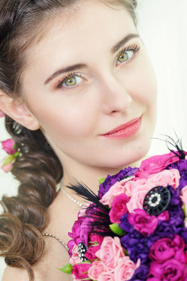 Download Woman With Bouquet Of Roses Stock Photo - Image: 30217858