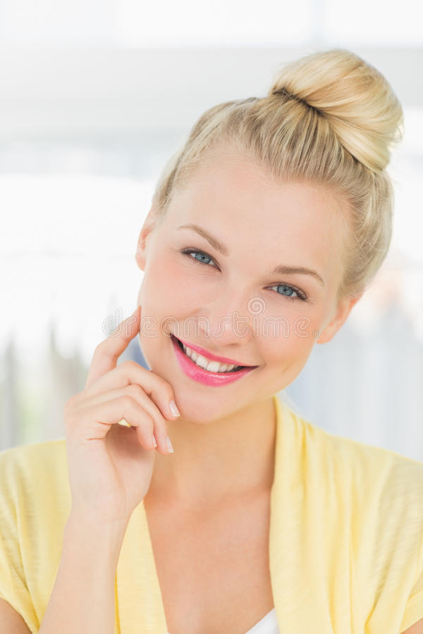Closeup portrait of a beautiful young woman stock images
