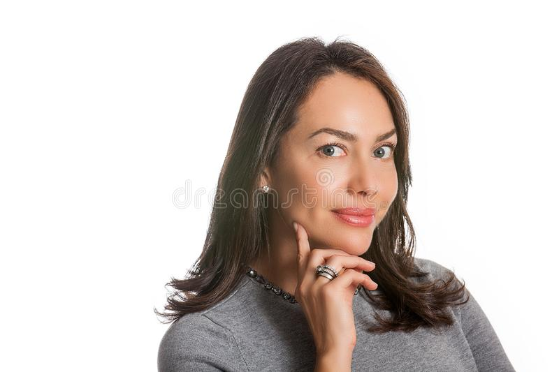 Closeup portrait of a beautiful young woman thinking or having an idea isolated. On white background royalty free stock photos
