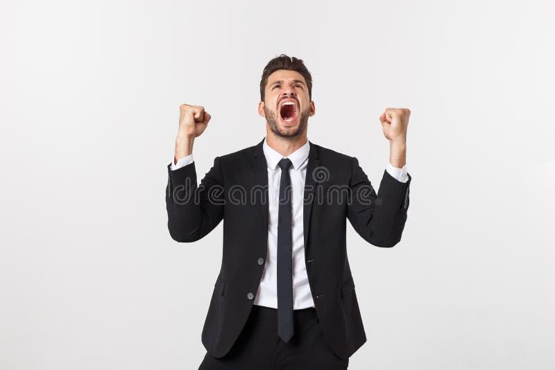 Closeup-Portrait begeistert energetisch glücklich, schreien, Geschäftsmann gewinnen, Waffen, Fäuste gepumpt feierlichen Erfolg lizenzfreies stockfoto