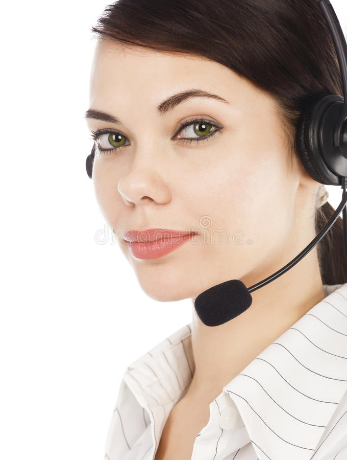Closeup portrait of call center operator royalty free stock photo