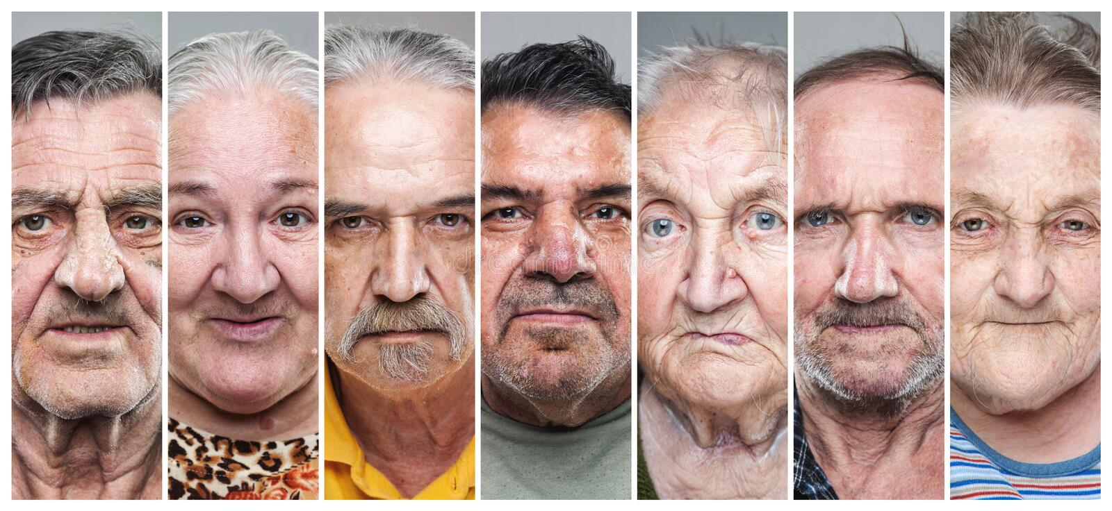 Closeup portrait collage of elderly men and women. Portrait collage of elderly men and women with various facial expressions stock image