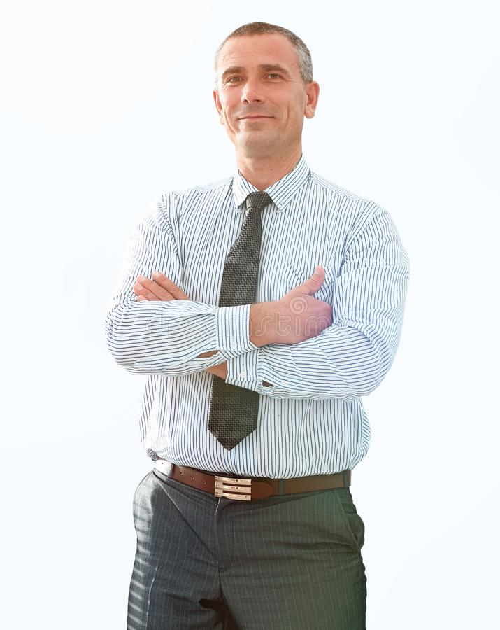 Closeup portrait of confident businessman in shirt and tie stock images