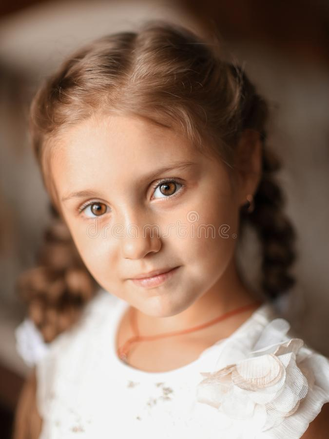 Closeup. portrait of a cute little girl. photo in retro style royalty free stock photos