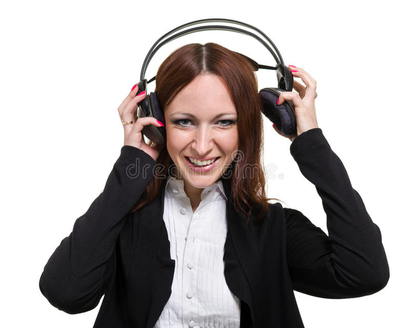 Closeup portrait of cute young business woman with headphones isolated on white stock image