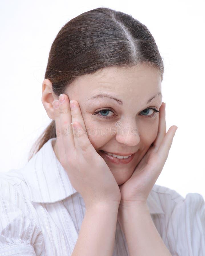 closeup portrait d'une jeune femme réussie blanc d'isolement par balai photographie stock