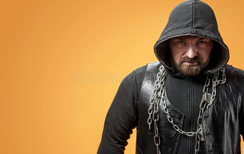 Closeup portrait of a dangerous criminal royalty free stock images