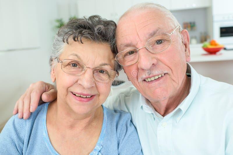Closeup portrait elderly couple stock images