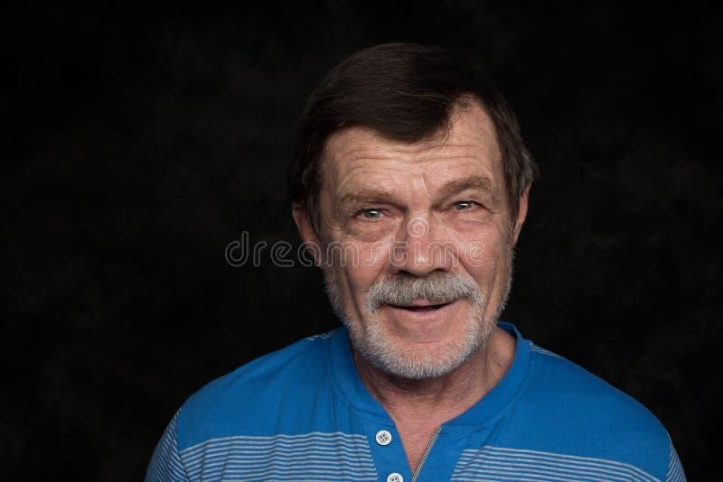 Closeup portrait of elderly man stock photo