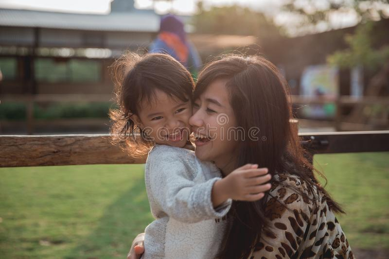 Closeup happiness mother and her child stock images