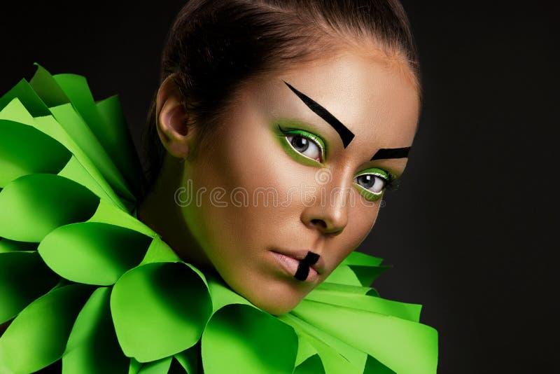 Closeup portrait of a fashion young woman stock image