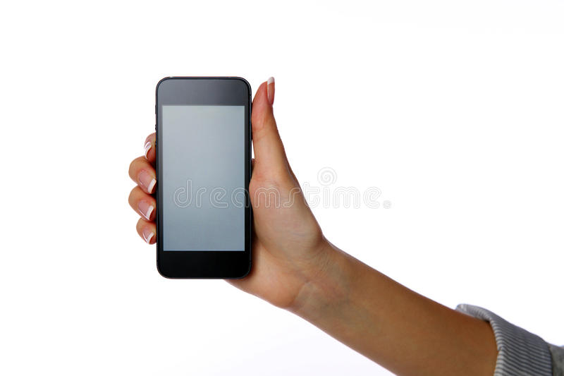Closeup portrait of a female hand holding smartphone royalty free stock photos