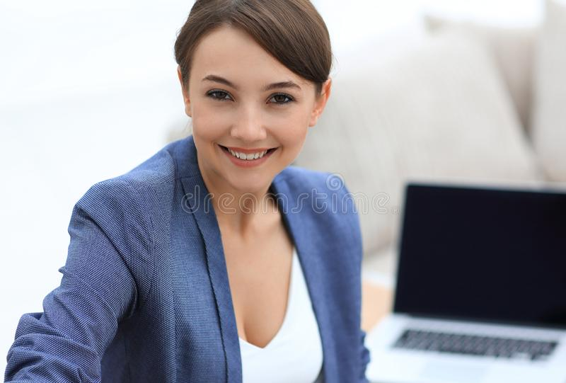 Closeup portrait of a female psychologist in her private office. Photo with copy space royalty free stock images