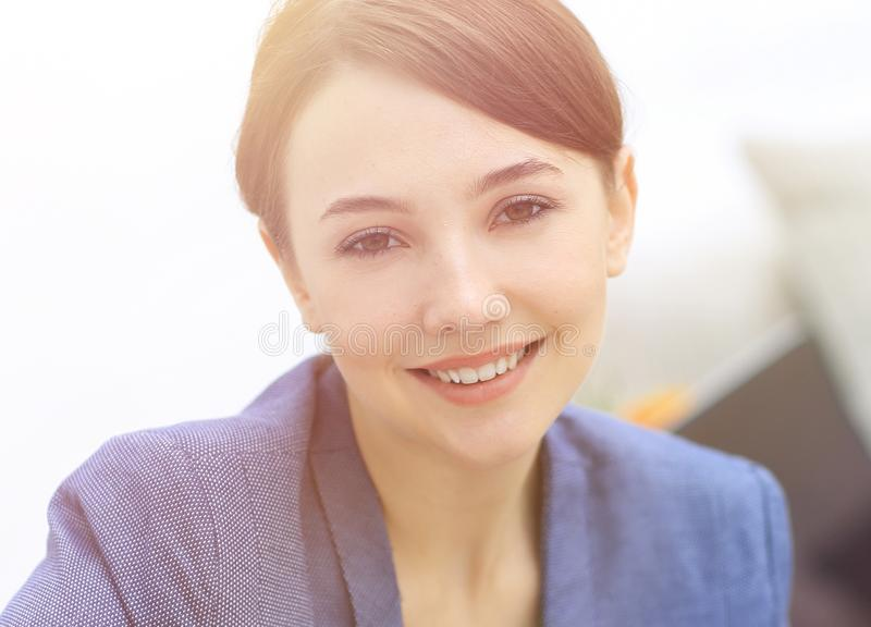 Closeup portrait of a female psychologist in her private office. Photo with copy space stock image