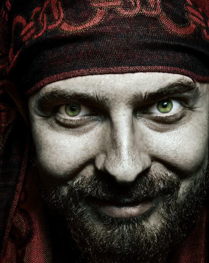 Closeup portrait of funny bizarre spooky man stock images