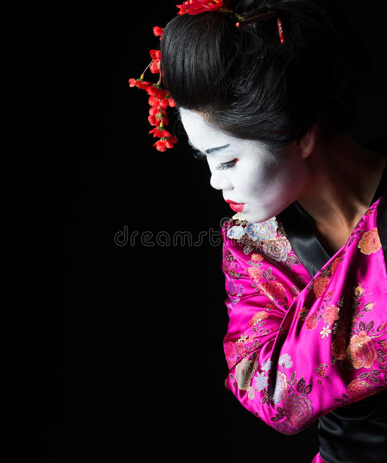 Closeup portrait of geisha stock images