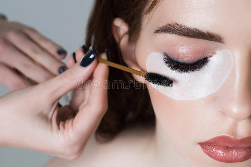 Portrait of a girl with long eyelashes royalty free stock photography