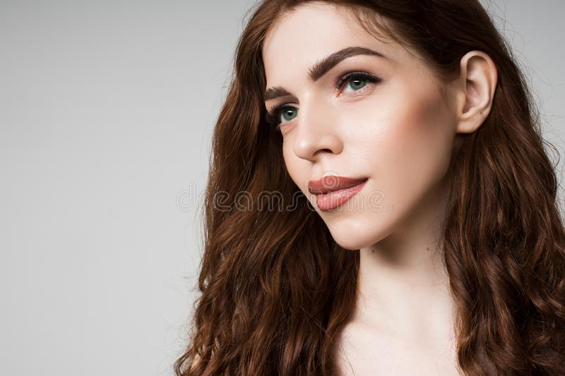 Portrait of a girl with long eyelashes stock images